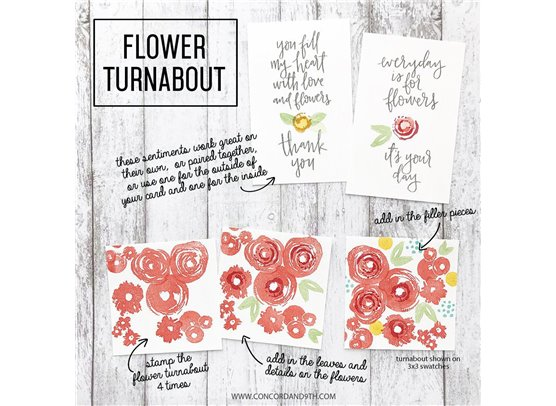 Concord & 9th Flower Turnabout Clear Stamp Set