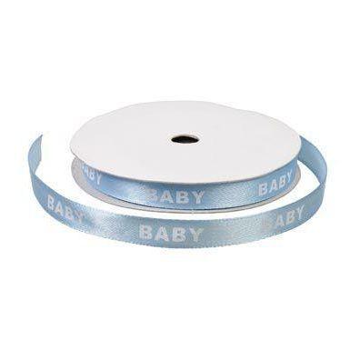 Satinbånd 9mm lyseblå m Baby i hvid