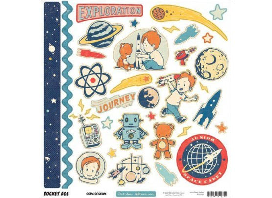 October Afternoon 12x12 Sticker ark - Rocket Age Shape stickers