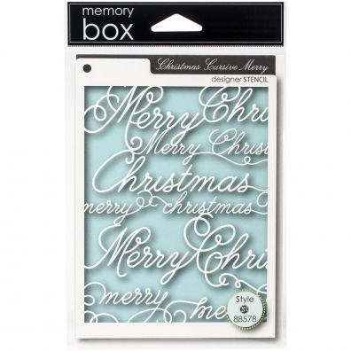 Memory Box Mask/ Stencil Christmas Cursive Merry
