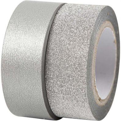 Glitter Design Tape 2 rl - Sølv