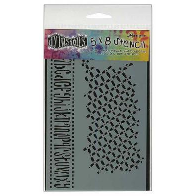 Dylusions 5x8 Stencil - Alphabet border small