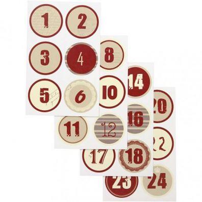 Kalender tal - røde stickers