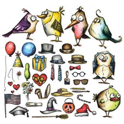 Tim Holtz Cling Stamp - Mini Bird Crazy & Things