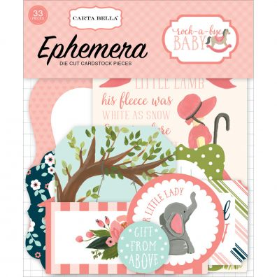 Rock-A-Bye Baby Girl Ephemera Cardstock Die-Cuts-Icons