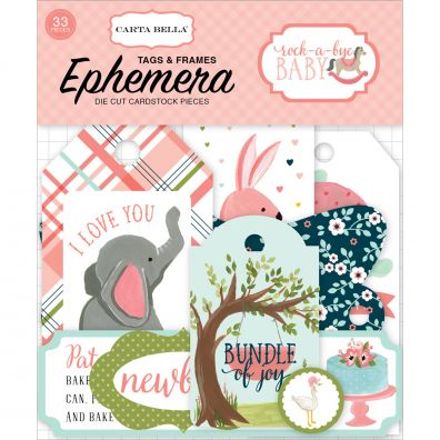 Rock-A-Bye Baby Girl Ephemera Cardstock Die-Cuts-Frames & Tags