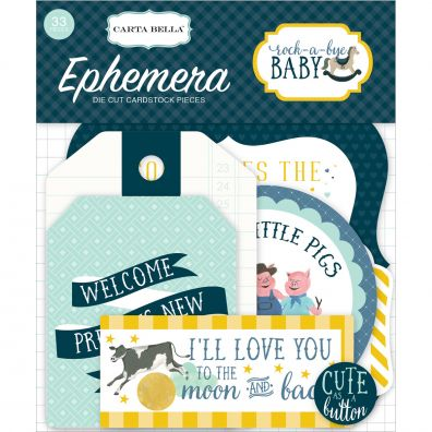 Rock-A-Bye Baby Boy Ephemera Cardstock Die-Cuts-Icons