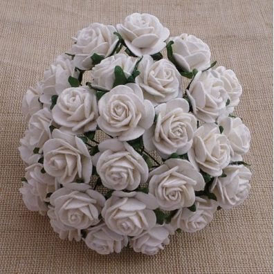 Mulberry Open Roses White 25 mm
