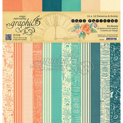 Graphic 45 Café Parisian Patterns & Solids 12x12 Paperpad