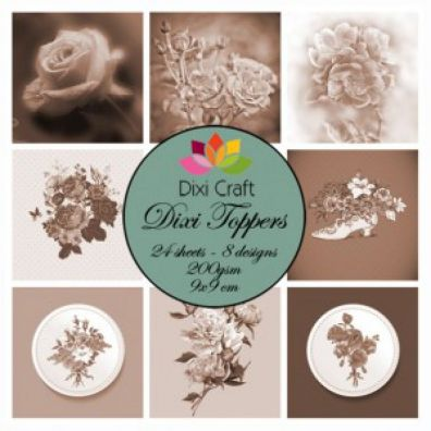 Dixi Craft Toppers 9x9 cm - 24 stk. Roser