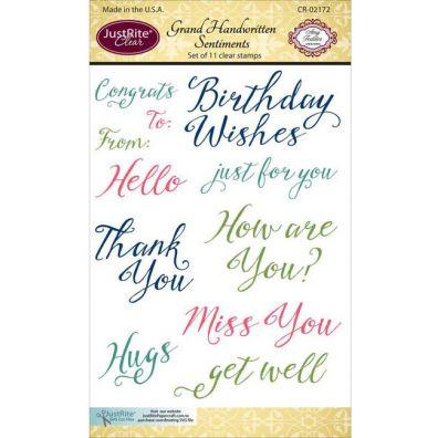 JustRite Clear Stamps - Handwritten Sentiments