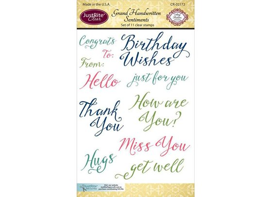 JustRite Clear Stamps - Handwritten Sentiments
