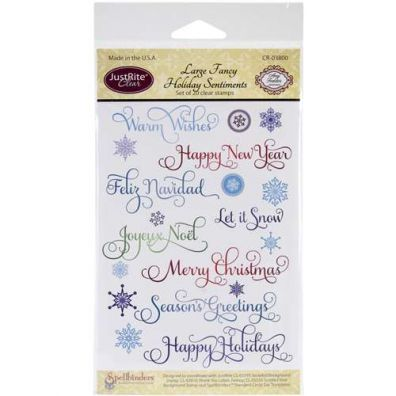 JustRite Clearstamps Large Fancy Holiday Sentiments