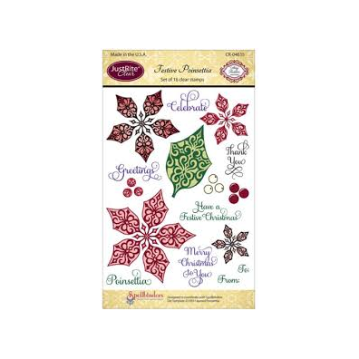 """JustRite Stampers 4""""x6"""" Clear Stamp Set-Festive Poinsettia 16pc"""