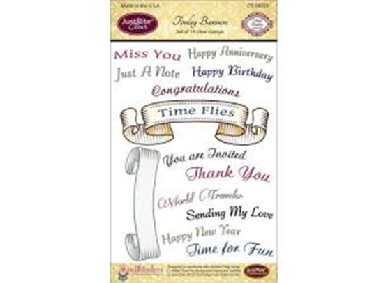 JustRite Clear stamps - Time banner