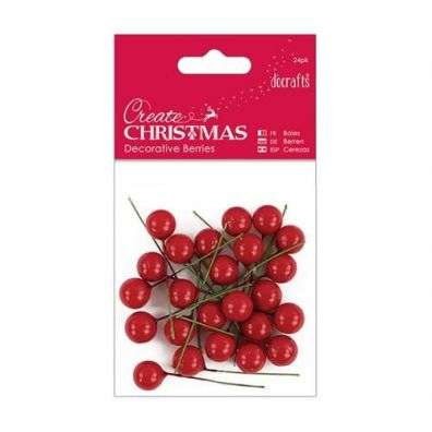 Docrafts Create Christmas Decorative Berries - Red