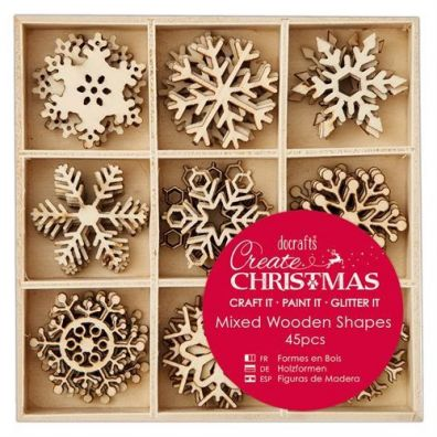 Docrafts Create Christmas Mixed Wooden Shapes - Snowflakes