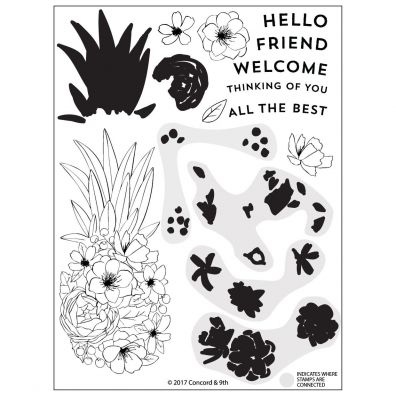 Concord & 9th Pineapple Perfection Clear Stamp Set
