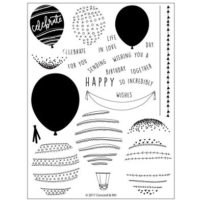 Concord & 9th Happy Balloons Clear Stamp Set