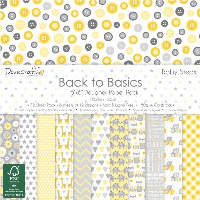 """Dovecraft Back to Basics Baby Steps 6x6"""" Paper Pack"""
