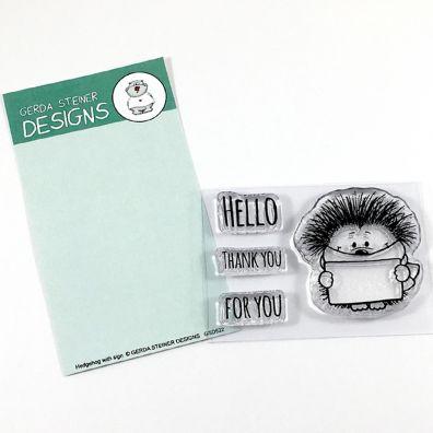 Gerda Steiner Designs Clear Stamps - Hedgehog with Sign