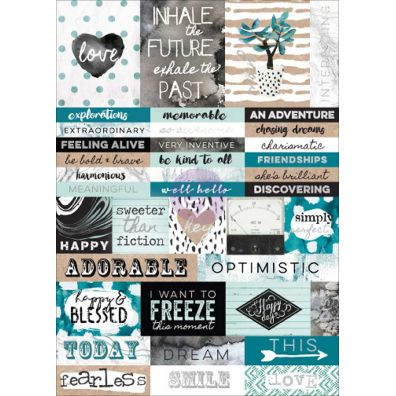 Prima Zella Teal Word Stickers
