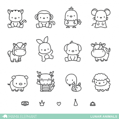 Mama Elephant Clear Stamps - Lunar Animals