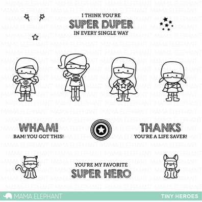 Mama Elephant Clear Stamps - Tiny Heroes