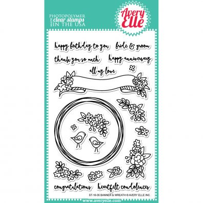 Avery Elle Clear Stamp - Banner & Wreath