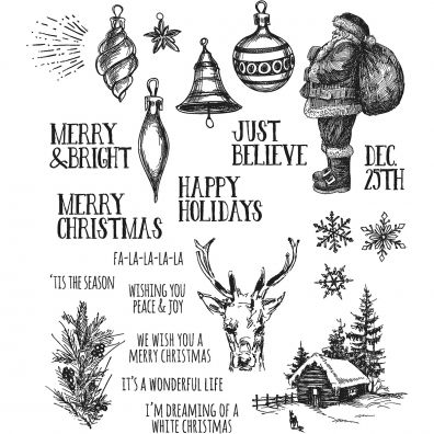 Tim Holtz Cling Stamps –- Holiday Drawings