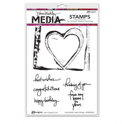 Dina Wakley Cling Stamp - Handwritten Heart Collage