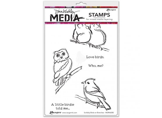Dina Wakley Cling Stamp - Scribbly Birds on Branches