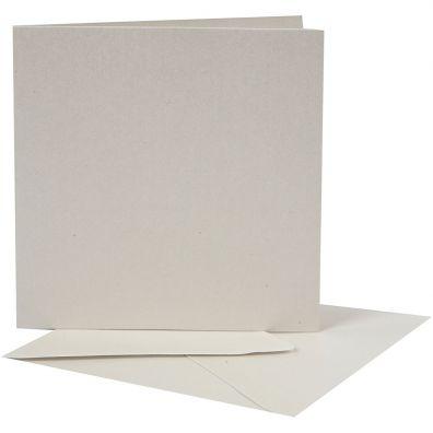 Kort & Kuverter 13,5x13,5 cm 50 sæt - Creme