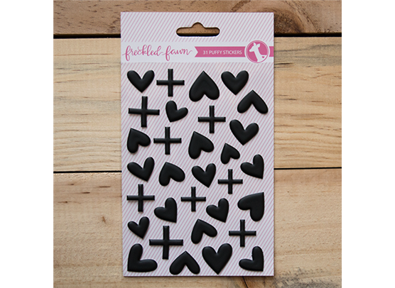 Freckled Fawn Puffy Stickers – Hearts and Plus signs sort