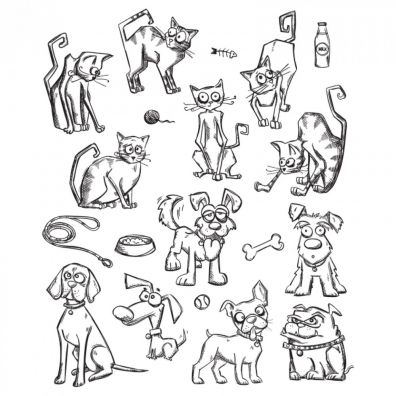 Tim Holtz Cling Stamps – Mini Cats & Dogs