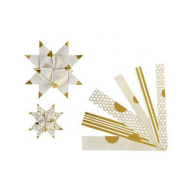 Vivi Gade Stjernestrimler B: 15+25 Hvid m. guldspidser