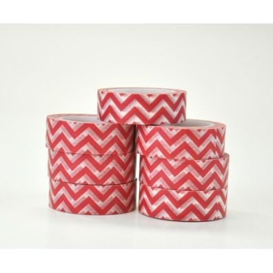 Freckled Fawn washi tape red horizontal chevron