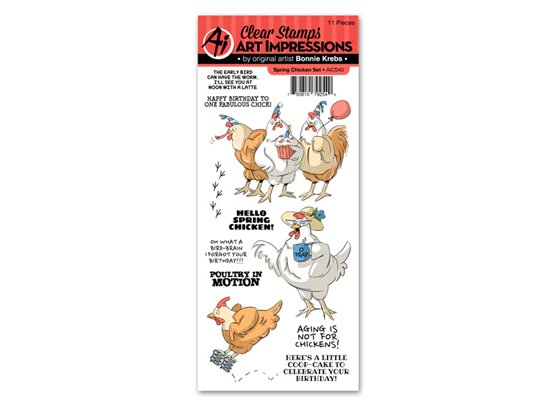 Art Impressions Clear Stamps - Spring Chicken Set