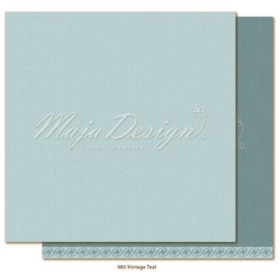 Monochromes - Shades of Celebration - Vintage Teal Mønsterpapir fra Maja Design