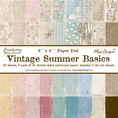 Vintage Summer Basics 6x6 Paper pack fra Maja Design