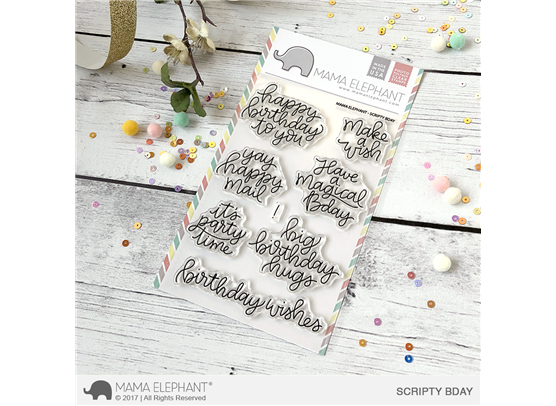 Mama Elephant Clear Stamps - Scripty Bday