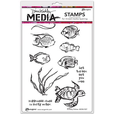 Dina Wakley Cling Stamp - Scribbly Fishies