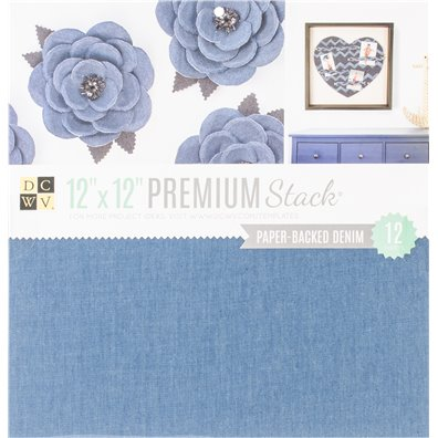 "Paper Backed Denim Fabric DCWV Single-sided 12x12"" Specialty Stack"