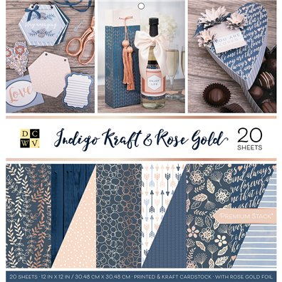 "Indigo Kraft & Rose Gold DCWV Double-Sided 12x12"" Cardstock Stack"