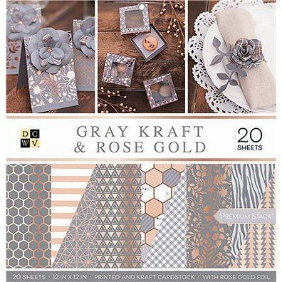 "Gray Kraft & Rose Gold DCWV Double & Single-sided 12x12"" Cardstock Stack"