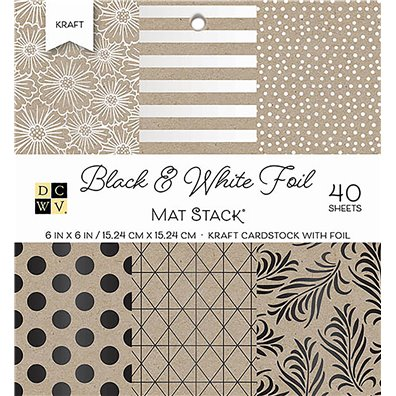 "Black & White Foil DCWV Single-Sided 6x6"" Cardstock Stack"