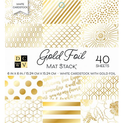 "Gold Foil DCWV Single-Sided 6x6"" Cardstock Stack"
