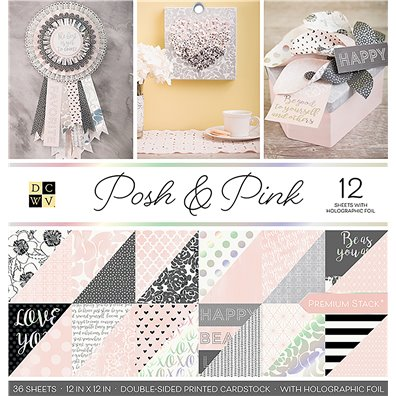 "Posh & Pink DCWV Double-Sided 12x12"" Cardstock Stack"