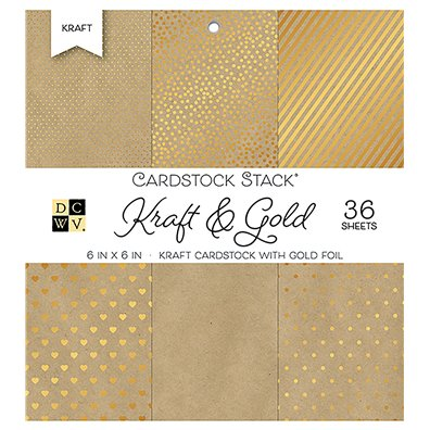 "Kraft & Gold DCWV Single-Sided 6x6"" Cardstock Stack"