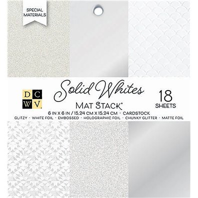 "Solid Whites DCWV Single-Sided 6x6"" Cardstock Stack"